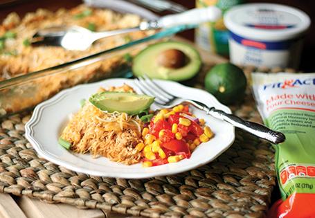 Chicken Enchilada Casserole with Corn Salsa