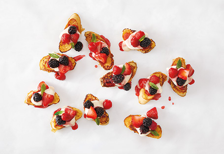 French Toast Crostini with Maple Crème & Fresh Berries