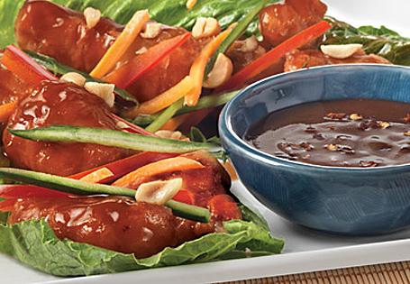 Crispy Peanut Chicken Lettuce Wraps