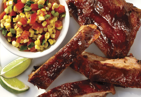 Chili Lime BBQ Ribs with Corn Relish