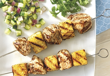 Grilled Chicken and Pineapple Skewers with Lemon-Cucumber Salsa