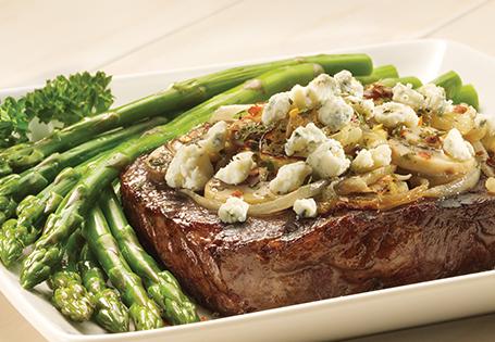 ... Main Beef & Lamb Grilled Ribeye Steak with Mushroom Blue Cheese
