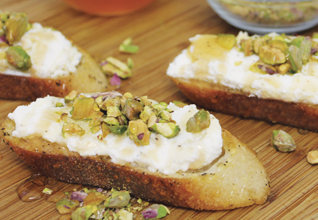 Ricotta Toasts with Pistachios & Honey