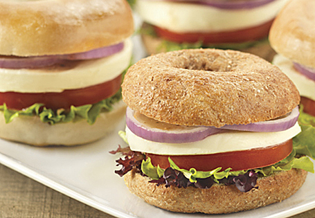 Homepage Recipes Main Vegetarian Mini Caprese Bagel Sandwiches
