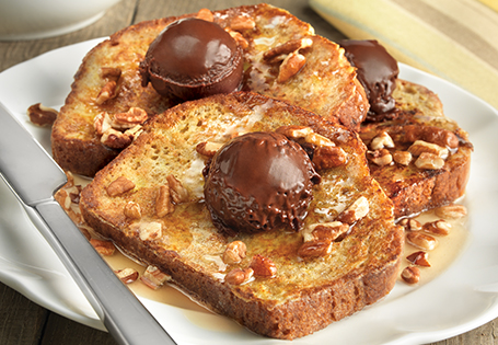 Banana Bread French Toast with Chocolate Butter and Pecan Syrup