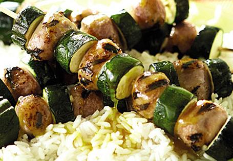 Pork Sausage & Zucchini Kebabs