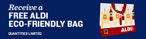 Receive a free ALDI Eco-Friendly bag. Quantities limited.