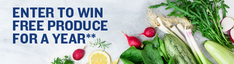 Enter to win free produce for a year. Legal at the end of page.