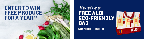 Enter to win free produce for a year. Legal at the end of page. Receive a free ALDI Eco-Friendly bag. Quantities limited.