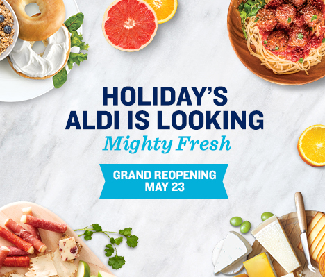 Holiday's ALDI is looking mighty fresh. Grand Reopening May 23.