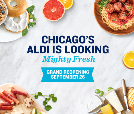 Chicago's ALDI is looking mighty fresh. Grand Reopening September 26.