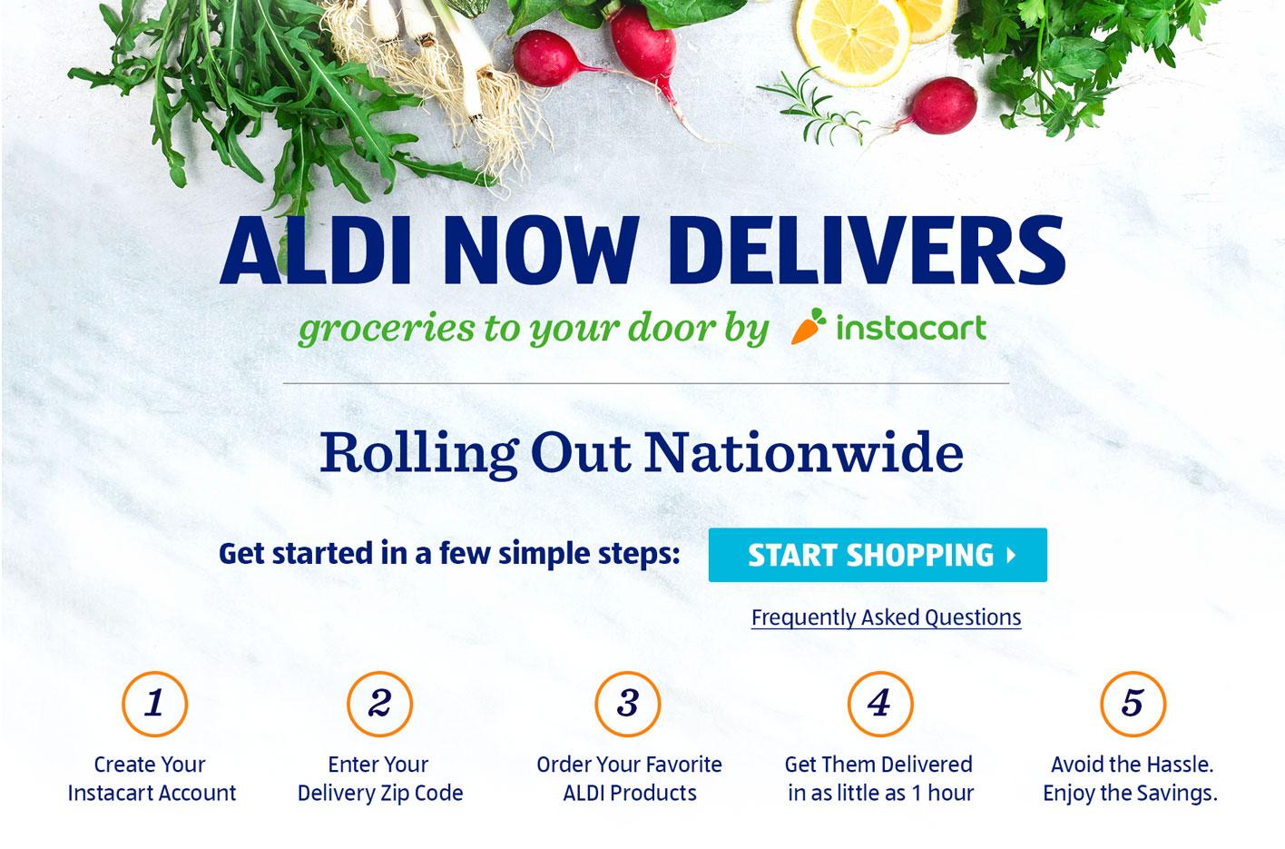 ALDI Delivers. Groceries to your door by Instacart.