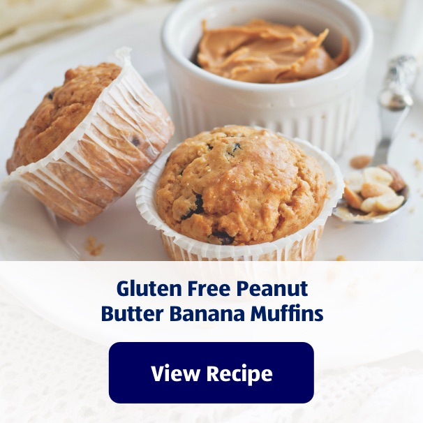 Gluten Free Peanut Butter Banana Muffins. View Recipe.