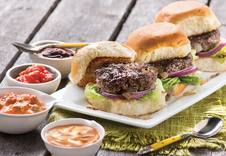 Organic Grass Fed Ground Beef Sliders with Crazy Condiments