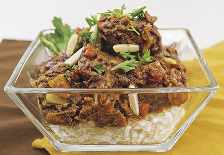 Slow Cooked Beef with Apricots and Almonds