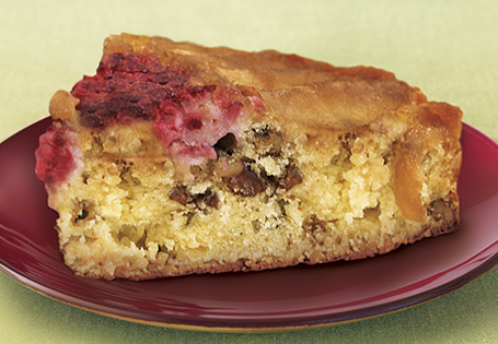 Baked Apple and Raspberry Upside Down Cake