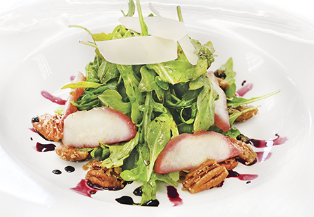 Red Wine Poached Pear and Arugula Salad with a Rosemary Red Wine Vinaigrette