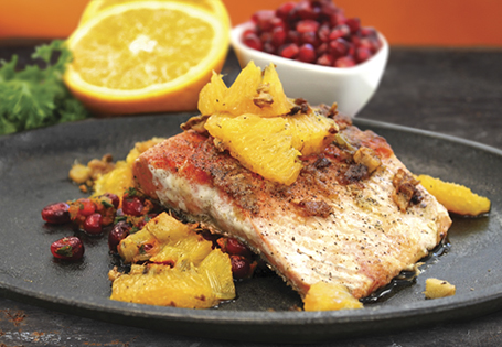Seared Salmon with Oranges & Pomegranate