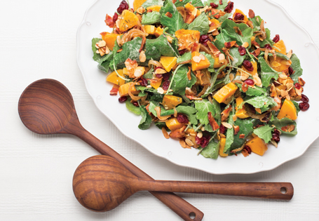 Squash and Baby Kale Salad with Warm Bacon Dressing