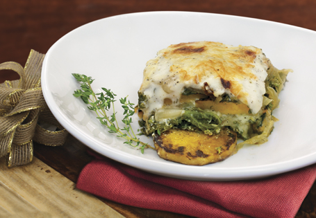 Butternut Squash, Kale and Caramelized Onion Lasagna