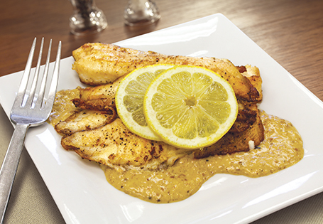 Seared Tilapia with Pistachio & Lemon Cream Sauce