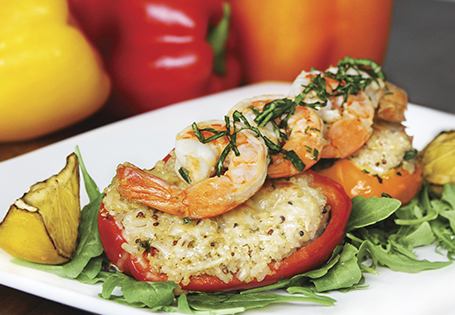 Lemon, Basil, and Quinoa Stuffed Peppers with Marinated Shrimp