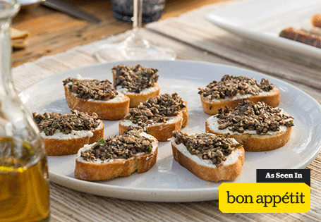 Crostini with Mushrooms and Goat Cheese