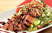 Seared Top Sirloin Salad with Blue Cheese and Fried Onions