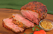 Sweet Mustard Tomato Roasted Leg of Lamb