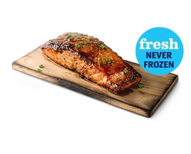 Fresh Korean BBQ or Asian Sesame Salmon on a Cedar Plank View 1