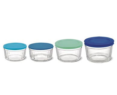 Crofton 8-Piece Glass Storage Bowls with Multicolored Lids View 1
