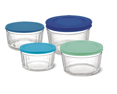 Crofton 8-Piece Glass Storage Bowls with Multicolored Lids View 2