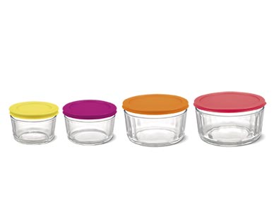 Crofton 8-Piece Glass Storage Bowls with Multicolored Lids View 3