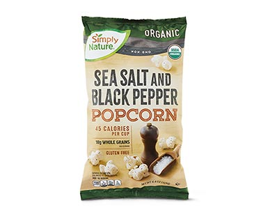 Simply NatureOrganic White Cheddar or Sea Salt & Black Pepper Popcorn View 2