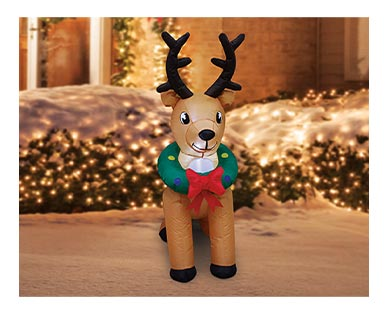 Merry Moments Reindeer, Tree or Stop Sign 4' Inflatable View 2