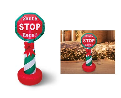Merry Moments Reindeer, Tree or Stop Sign 4' Inflatable View 3