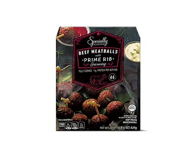 Specially Selected Maple Bacon Pork or Prime Rib Seasoned Beef Meatballs View 2