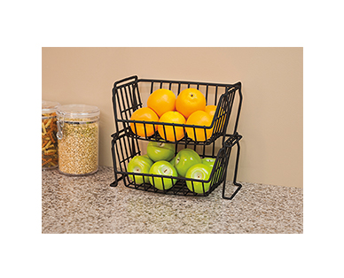 Huntington Home 2-Pack Stacking Baskets or Under-Shelf Baskets View 1