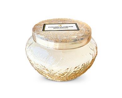 Huntington Home Embossed Glass Jar Candle Coconut Cream Macaron