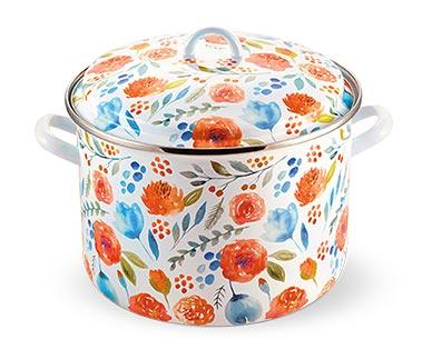 Crofton 12-Quart Porcelain Enamel Stockpot Floral