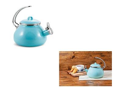 Crofton 2.3-Quart Teakettle Blue Speckled In Use