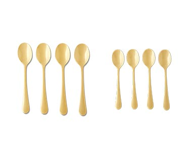 Crofton 4-Piece Flatware Set Gold Tablespoons and Teaspoons