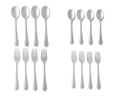 Crofton 4-Piece Flatware Set Polished Stainless Steel Tablespoons, Teaspoons, Dinner Forks or Salad Forks