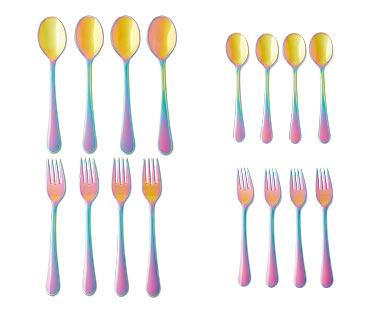 Crofton 4-Piece Flatware Set Rainbow Tablespoons, Teaspoons, Dinner Forks or Salad Forks