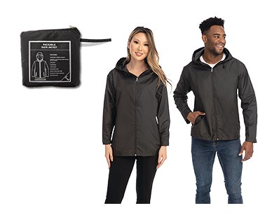 Crane Adult Packable Rain Jacket Black In Use