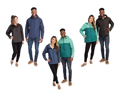 Crane Adult Packable Rain Jacket Black, Navy and Teal/Green In Use
