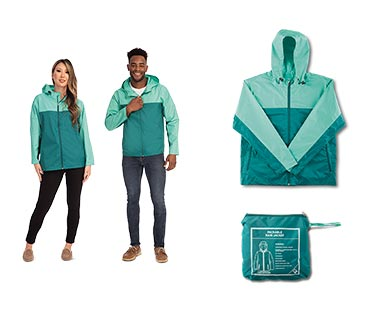 Crane Adult Packable Rain Jacket Teal/Green In Use