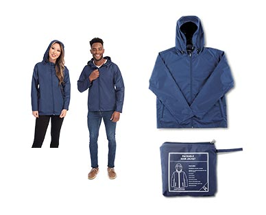 Crane Adult Packable Rain Jacket Navy In Use