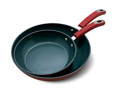 Crofton Ceramic Nonstick Pans Red/Gray View 1