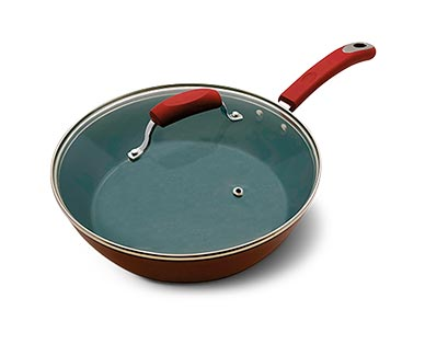 Crofton Ceramic Nonstick Pans Red/Gray View 2